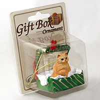 Ornament Gift Box Green Cats