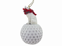 Wolf White Golf Ornament
