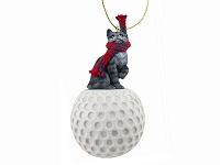 Silver Shorthaired Tabby Cat Golf Ornament