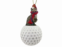 Brown Shorthaired Tabby Cat Golf Ornament