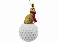 Red Shorthaired Tabby Cat Golf Ornament