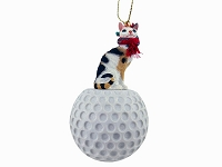 Tortoise & White Cornish Rex Golf Ornament