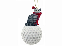 Silver Tabby Maine Coon Cat Golf Ornament