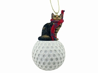 Brown Maine Coon Cat Golf Ornament