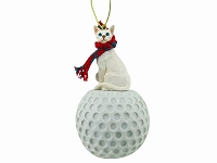 White Oriental Shorthaired Golf Ornament