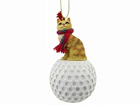 Red Tabby Manx Golf Ornament
