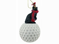 Black Shorthaired Tabby Cat Golf Ornament