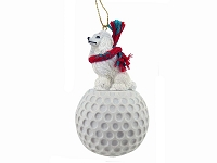 Poodle White golf Ornament