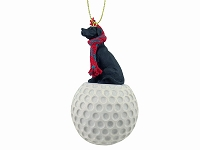 Great Dane Black w/Uncropped Ears golf Ornament