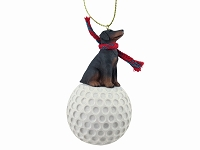 Doberman Pinscher Red w/Uncropped Ears golf Ornament
