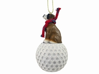 Boxer w/Uncropped Ears golf Ornament
