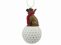 Boxer Tawny w/Uncropped Ears golf Ornament