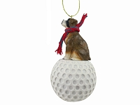 Boxer Brindle w/Uncropped Ears golf Ornament