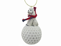Poodle White w/Sport Cut golf Ornament