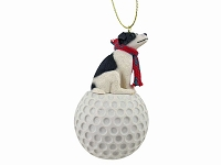 Jack Russell Terrier Black & White w/Smooth Coat golf Ornament
