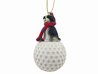 Shih Tzu Black & White w/Sport Cut golf Ornament