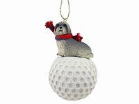 Lhasa Apso Gray w/Sport Cut golf Ornament