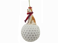 Husky Red & White w/Blue Eyes golf Ornament