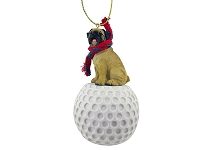 Pug Fawn golf Ornament