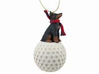 Doberman Pinscher Red w/Cropped golf Ornament