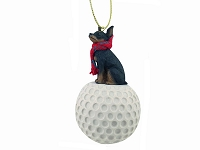 Miniature Pinscher Tan & Black golf Ornament