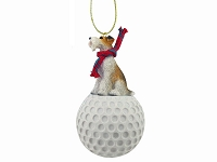 Wire Fox Terrier Red golf Ornament