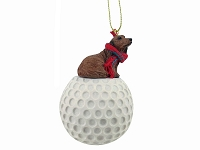 Dachshund Longhaired Red golf Ornament