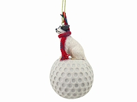 Jack Russell Terrier Brown & White w/Rough Coat golf Ornament
