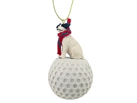 Jack Russell Terrier Black & White w/Rough Coat golf Ornament
