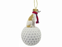 Whippet Tan & White golf Ornament