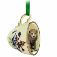 Lion Tea Cup Green Holiday Ornament