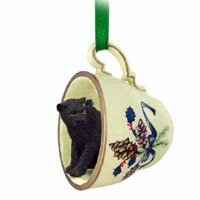 Panther Tea Cup Green Holiday Ornament