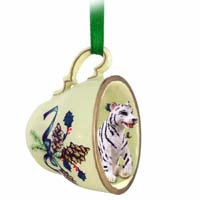 Tiger White Tea Cup Green Holiday Ornament