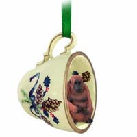 Orangutan Tea Cup Green Holiday Ornament