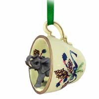 Elephant Tea Cup Green Holiday Ornament