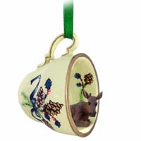 Moose Cow Tea Cup Green Holiday Ornament