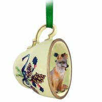 Fox Gray Tea Cup Green Holiday Ornament