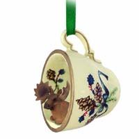 Moose Bull Tea Cup Green Holiday Ornament
