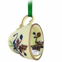 Guernsey Bull Tea Cup Green Holiday Ornament