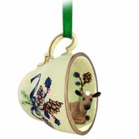 Guernsey Cow Tea Cup Green Holiday Ornament