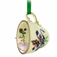 Goat White Tea Cup Green Holiday Ornament