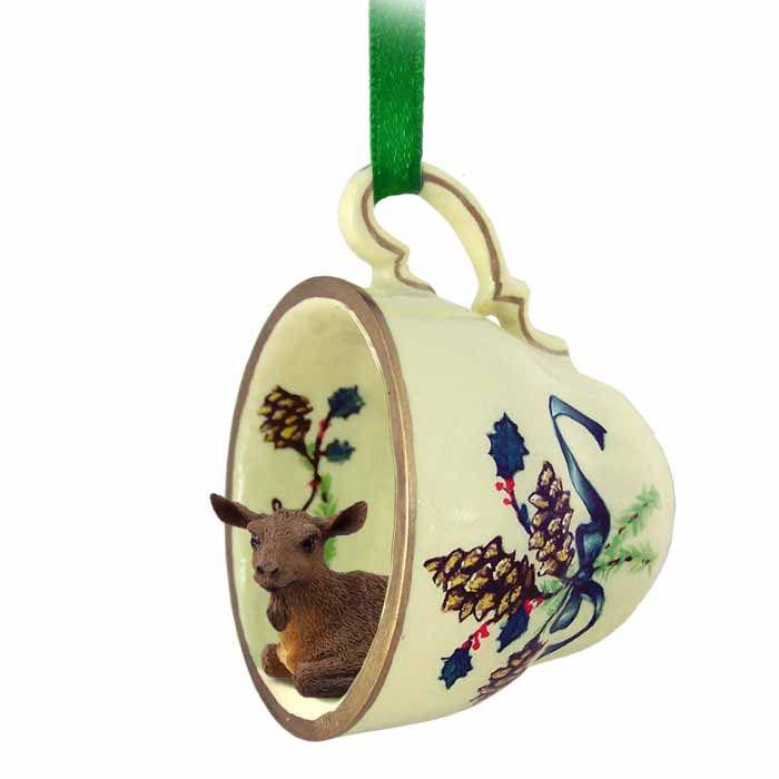 Goat Christmas Ornament.Goat Brown Tea Cup Green Holiday Ornament