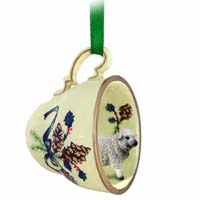 Sheep White Tea Cup Green Holiday Ornament