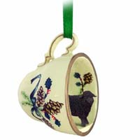 Sheep Black Tea Cup Green Holiday Ornament