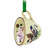 Rabbit White Tea Cup Green Holiday Ornament