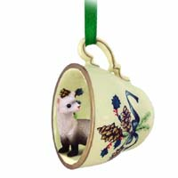 Ferret Tea Cup Green Holiday Ornament