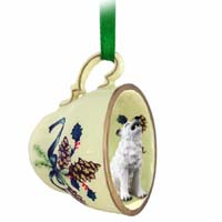 Wolf White Tea Cup Green Holiday Ornament