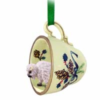Buffalo White Tea Cup Green Holiday Ornament
