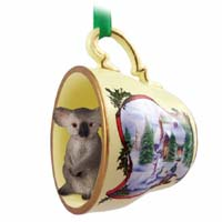 Koala Tea Cup Snowman Holiday Ornament