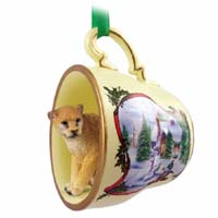 Cougar Tea Cup Snowman Holiday Ornament